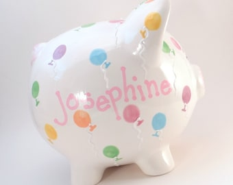 Balloon Piggy Bank - Personalized Piggy Bank - Party Balloons Bank - Ceramic Piggy Bank - Birthday Party Piggy Bank - with hole or NO hole