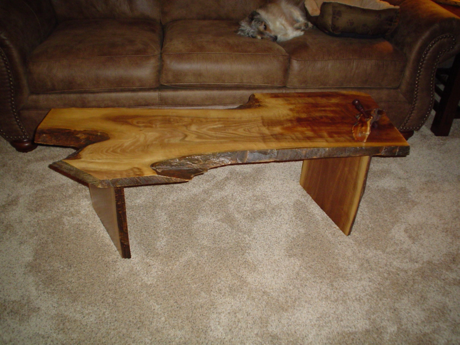 Coffee Table Black Walnut Crotch Slab Live Edge Coffee Table