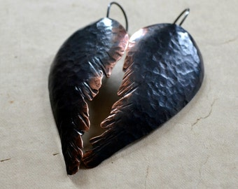 Hammered copper earrings, angel wings, black ombre patina, sterling silver , rustic jewelry- Fallen Angel