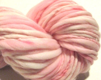 Super Chunky Handspun Yarn Almost Solid Pink 103 yards hand dyed merino wool waldorf doll hair crochet supplies pink yarn knitting supplies