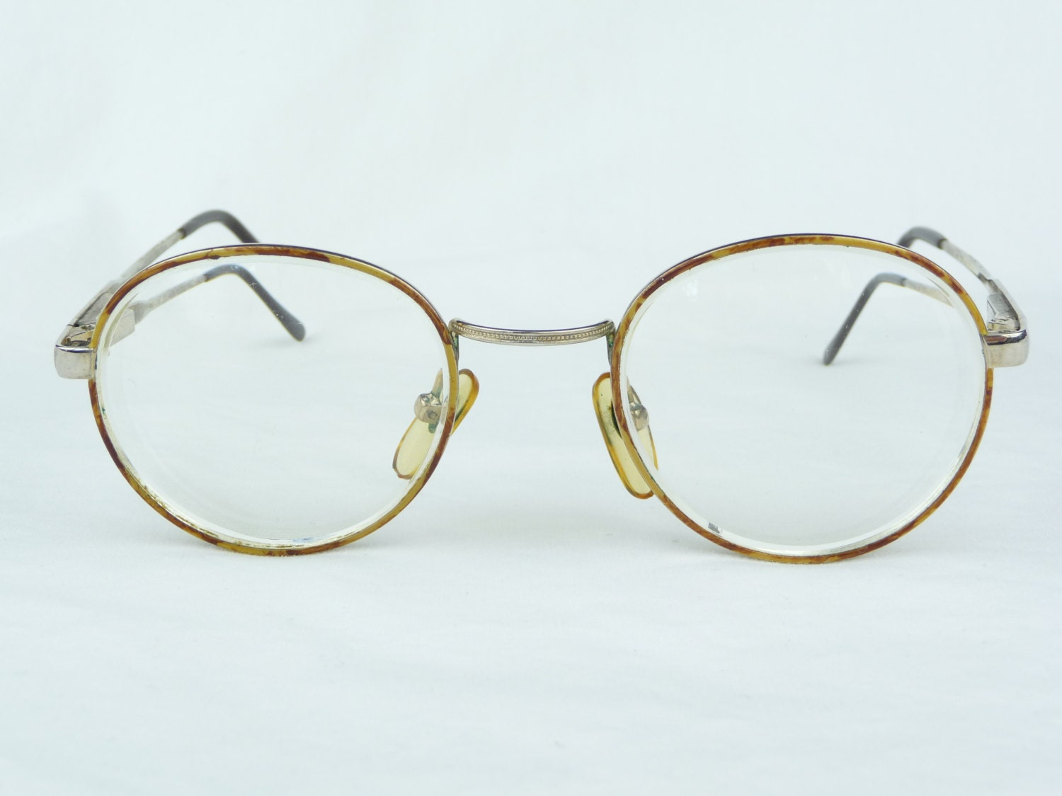 Gold Metal Glasses Frames : vintage eyeglasses gold metal frames brown spots vintage