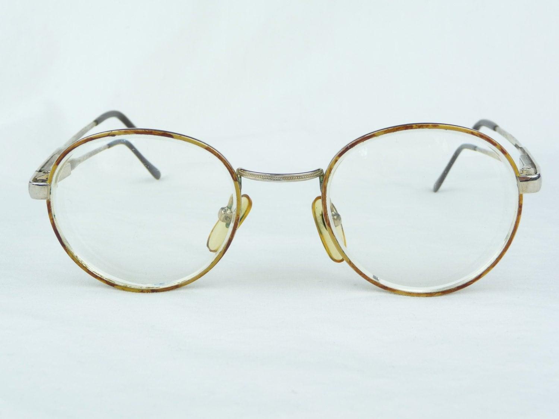 Gold Eyeglasses Frames : vintage eyeglasses gold metal frames brown spots vintage