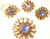 Sarah Coventry Rivoli Opal Crystal 3 piece set, Necklace, Earrings, and Ring