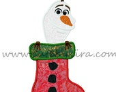 Cold Snowman Stocking Christmas Applique Machine Embroidery Design (DIGITAL ITEM)