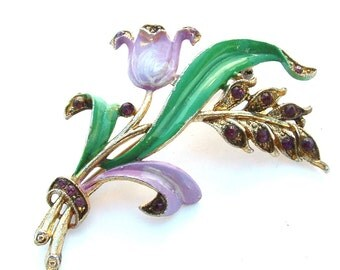 Enamel Jewelry, Vintage Bouquet Lavender Tulip Rhinestone Brooch Floral Antique Jewelry