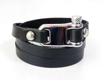 Leather Bracelet Leather Wrap Bracelet Leather Cuff with Black color and Metal Alloy Shackle Clasp