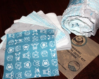 DIY, Farm, Animals, Baby, Blanket, Kit, Rag Quilt Kit, Baby, Boy, Turquoise, Blue,Grey, Organic Sateen, Non-Organic Flannel, Ready to Sew