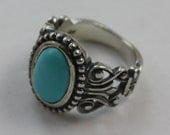 Southwestern Style Ring Sterling Faux Turquoise Avon Size 6 to 6.5