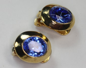 Sapphire Blue Glass Earrings Gold Tone Clip Style Vintage