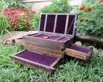 Rustic Jewelry Chest - Wood Jewelry Box - Secret Compartment Boxes - Hidden Drawers - Purple or Black Velvet Lined