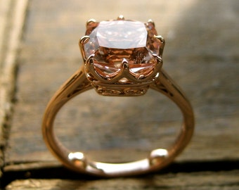 Checker Board Salmon Colored Morganite Engagement Ring in 14K Rose Gold with Scrolls on Basket Size 7