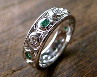 Diamond and Emerald Wedding Ring in 14K White Gold with Wide Scroll Motif Size 5