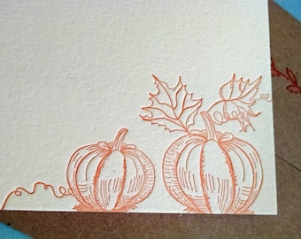 Orange Pumpkin Letterpress Stationery with Sewn Envelope - 5 pack