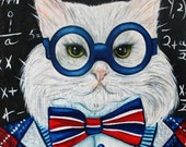 Cat Art Prints Giclee Animal Art Cats in Clothes from Original Oil Painting Mr Peepers  by k Madison Moore