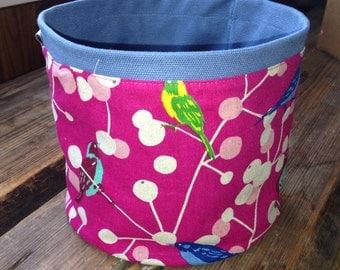 Japanese pink linen basket, berries, birds, from Finland