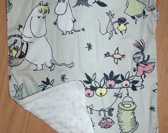 "Moomin super soft minky infant baby blanket , Finland, 15"" x 20"""