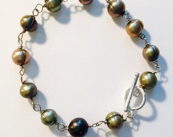 Green Pearl Wire Wrapped Bracelet, Genuine Pearl Bracelet