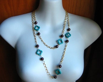 Long Gold Chain Layering Station Necklace With Chocolate Glass Pearls and Turquoise Quatrefoil Accents