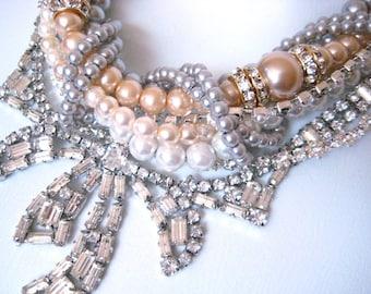 Rhinestone Bow Pearl Necklace Wedding Necklace Statement Creamy White Champagne Silver Pearl Wedding Jewelry Vintage Wedding (Binns Inspired