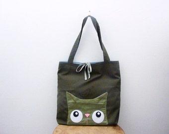 Tote Bag, Cute Hand Bag, Cat Tote Bag, Cat Bag, Shoulder Bag, Cat Lover Gift, Cute Tote Purse, School Bag, Casual tote - Curious Kitty