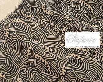 Japanese Thick Cotton Fabric-Zen Style Traditional Dark Blue Beige Ocean Waves, Choose Color(Fat Quarter)