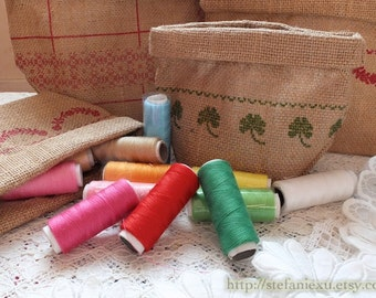SALE 12 or 24 Colors Colorful Sewing Thread Eco Friendly Natural Linen Basket Sewing Kit Set Sewing Pack-Choose Thread Color Basket Pattern