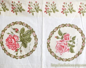Retro Vintage Look Country Style Shabby Chic Rose Flower Floral Wreath Square Panel Fabric (B) - Cotton Fabric (1 Panel, 23.6x39.3 Inches)