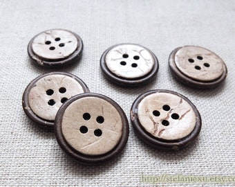 6PCS Natural Coconut Buttons - Lovely Simple Round Circles (6PCS, D=2CM)