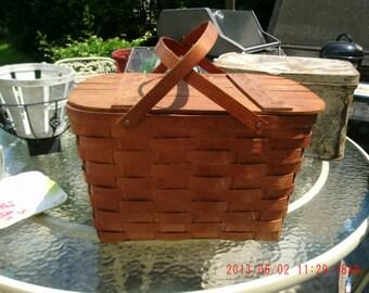 Vintage Basket * Market * Picnic * Shabby Cottage * Rustic Primitive Farmhouse*Marked*