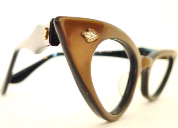 Winged Vintage Cat Eye Glasses Never Used Eyeglass Frame Rockabilly Glowing Pearly Brown Over Black NOS Vintage 50s 60s Sunglasses Small