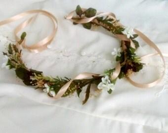 Spring Tuscan Wedding Flower Crown vine leafy greenery Bridal hair wreath accessories flower girl halo destination headwreath baby headband