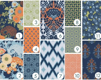 Baby Bedding - Navy and Apricot Art Deco Floral Custom Modern Crib Bedding : Blue, Orange, Green