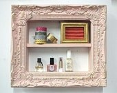 Shabby Chic Pink and Gold Display, Organizer, Nail Rack, Salon