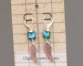 Free USA Shipping Sterling Silver Dangle Wing Charm Turquoise Colored Glass Leverback Silver Plate Earrings