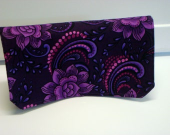 Coupon Organizer Cash Budget Organizer Holder- Attaches to your Shopping Cart - Midnight Purple Floral
