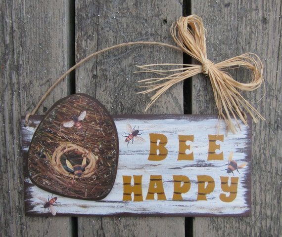 BEE HAPPY Wood Sign - Retirement Gift - Bridal Shower Gift