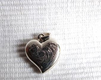 Vintage //// Sterling Silver Heart hand craved Pendant