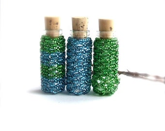 Tiny Beaded Bottle Set Container Teal Blue Green Handmade Home Decor Gift Idea Glass Vial Cork Bud Vase