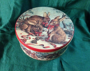 Large CHRISTMAS TIN Woodland Bunny Rabbit Large Round Holiday Cookie Container 1980s Taiwan Vintage