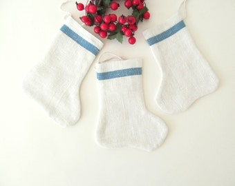 Christmas Stocking Ornaments . Set of Three Small Stockings . White Ivory Blue Stripe . Upcycled Repurposed