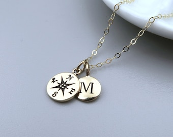 Gold Compass Initial Necklace, Dainty 14k Gold Fill, Personalized Jewelry, Compass Necklace
