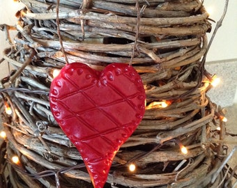 Cranberry Beeswax Quilted Heart Ornie  #108