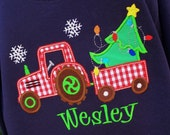 Boys Tractor Pulling Christmas Tree on Long Sleeves