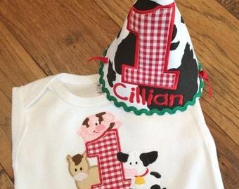 Boys Barnyard Birthday Shirt or Onesie with Party Hat