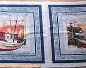 FABRIC PANEL quilt quilting 2 pillow tops d. morgan boats fisherman fish cotton new