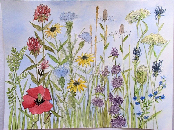 original botanical mixed media painting is painted by artist Laurie Rohner