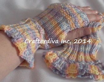 Springtime Multicolored Fingerless Gloves Hand Knitted and Crocheted