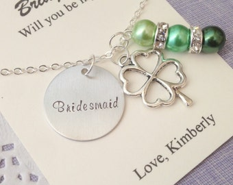 Ask Bridesmaid, Flower girl, Handstamped charm necklace, Shamrock. Other Color Pearl Available. FREE Notecard Jewelry Box.