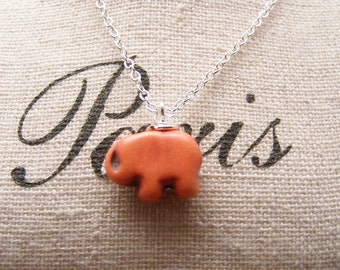 Lucky Elephant Necklace in Orange