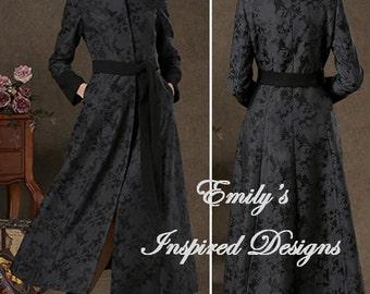 Black Brocade Long Trench Coat